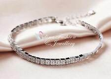 18K White Gold Filled Simulated Diamond Shiny Square Silver Tennis Bracelet