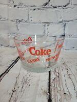 "Unique Vintage Coca-Cola Heavy Glass Snack Ice Popcorn Bowl 4 1/4"" Tall. Nice!!"