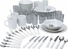 Stoneware Dinnerware Set 60Pc Dinner Side Plates Bowls Mugs Spoons Forks Cutlery