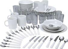 Vajilla De Gres Set 60Pc cucharas cena platos pequeños cuencos Tazas Tenedores Cubiertos