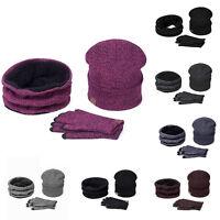 Men Women Beanie Knit Hat Glove Neck Scarf 3pcs Set Winter Warm Ski Cap Oversize