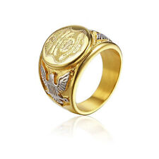 Gold Silver Color Stainless Steel Marine Corps Eagle Badge USA US Military Ring