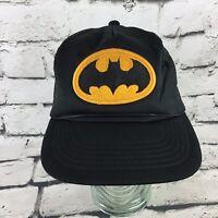 Vintage Batman Trucker Hat Black Classic Logo Snapback Cap By DC Comics