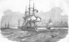 RUSSIA. Kronstadt-Harbour, antique print, 1854
