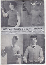 Vintage knitting pattern double knitting boys sweaters 32-36 P+B 785