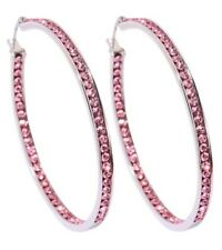 SPARKLING PINK MADE WITH SWAROVSKI CRYSTAL INSIDE & OUT HOOP EARRINGS - 2""