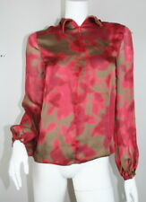 Etro Red Brown Floral Silk Long Sleeve Zippered Front Sheer Blouse 40 S SM Small