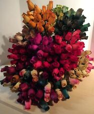 """50 Realistic Wooden Rosebuds - Assorted Colors, 13"""""""