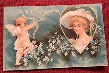 Vintage Valentine's Day Postcard Cupid Bow And Arrow International Art Heart UDB