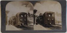 Suisse Train Chemin de Fer Montagne Photo Stereo Vintage