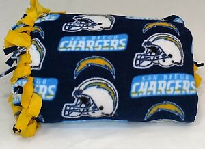 San Diego Chargers Football Team Knot Tie Throw Homemade Blue and Yellow Orange