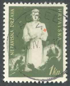 Croatia, 1942, WWII, Red Cross, tax obligatory stamp
