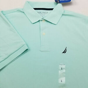 NAUTICA Classic Fit Short Sleeve Men's Polo shirt Color GREEN  Size  L