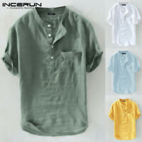 Men Vintage Henley Shirts Chinese Style Cotton Linen Solid Short Sleeve Tee Tops