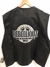 Vintage Mens Motorcycle Bikers Leather Vest Los Angeles Biker Club patches MC