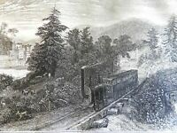 Early Locomotive Trains Utica Little Falls 1839 scarce French engraved view