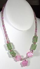 "Green Glass Floral Beads and Pink Mother of Pearl MOP beaded 16"" necklace"