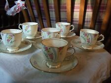 6 vintage cups & saucers in floral & ribbon Plant Tuscan China 1930's pattern