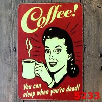 Metal Tin Sign propaganda coffee Bar Pub Home Vintage Retro Poster Cafe ART