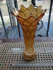Antique Vtg Fenton Carnival Glass Vase Rainbow Iridescent Marigold Wave Ruffle