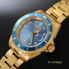 SWISS MADE AUTOMATIC Invicta Pro Diver 18k Gold IP Sellita SW200 Blue Dial Watch