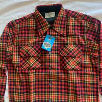Vtg 70's JC Penney Red Plaid Plaid Loop Collar Flap Pocket Wool Blend Shirt M