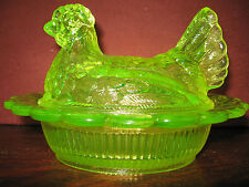yellow Vaseline glass hen chicken on nest basket dish candy butter uranium green