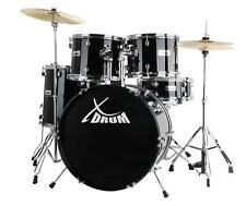 """22"""" Schlagzeug Set Einsteiger Drum Kit Set Becken Hocker DVD Schule Schwarz"""