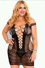 Mini Dress #8 Black Fishnet Bodystocking ONE SIZE PLUS Sexy Lingerie Fetish USA