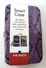 NEW Mundi Smart Cell Phone Case Wristlet Key Ring Credit Cash Purple Reptile