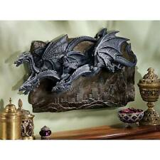 Medieval Trio of Dragons Flying High Castle Gothic Wall Sculpture New