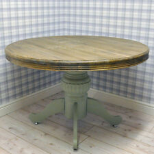 Farmhouse Shabby Chic Green Painted Factory Seconds Wooden Dining Pedestal Table