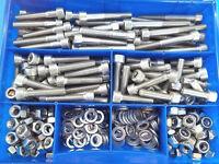 325 Teile Edelstahl V2A Innensechskantschrauben DIN 912 Muttern Box M4 Nirosta