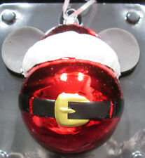 Santa Mickey Mouse Ears Round Blown Glass Christmas Ornament 2Hcm2133 New Boxed