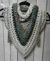 Cool gray ombre boho triangle scarf cowl neck warmer crochet womans handmade