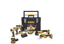 NEW-DEWALT 20V MAX Li-Ion Cordless 7-Tool Combo Kit w Tough System Tool Box