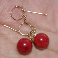 VINTAGE EXCUISITE 14K GOLD UNDYED 10MM RED CORAL ELONGATED DROP EARRINGS