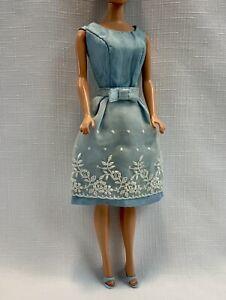 Vintage Doll Clothes BARBIE 1966 Reception Line Dress #1654 Blue Open Toe Heels