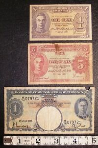 Lot of 3 MALAYA 1941 banknotes P-6 P-7 P-11 ONE CENT FIVE CENT ONE DOLLAR #6840