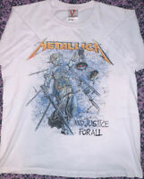 METALLICA AND JUSTICE FOR ALL MENS VISION WHITE LARGE T-SHIRT