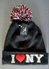 NEU Beanie Mütze Strickmütze I ❤️ NY LOVE NEW YORK Hip Hop Hipster Bommelmütze