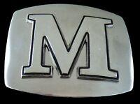 """Initial Letter Name """"M"""" Chrome Belt Buckle Buckles Boucle De Ceinture"""