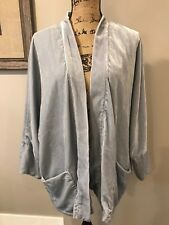 Cupcakes And Cashmere Cloud Blue Kimono Inspired Velvet Jacket Size M Pockets