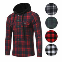 Fashion Men Lightweight Hoodie Work Plaid Flannel Shirt Cotton Slim Casual Shirt