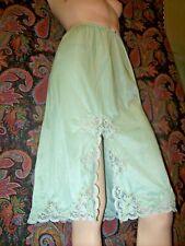 Vintage Silky Nylon Tricot Green A-line Lacy Slit Half Slip M