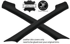 BLACK STITCH 2X A PILLAR REAL LEATHER COVERS FITS PORSCHE 924 944 75-91 STYLE 2