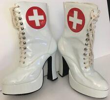 Exotic Stripper Dancer White Red Cross Nurse High Heel Platform Boots Size 10