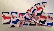 Corgi Headwrap Pelo Envoltura Diadema Rojo Blanco y Azul Union Jack corgis Nuevo