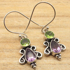925 Silver Plated Over Solid Copper Jewelry PERIDOT & AMETHYST Earrings