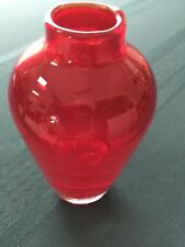 "Red Contemporary Art Glass Bud Vase 4 3/4"" Clear Weighted Bottom"
